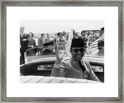 Sukarno, President Of Indonesia Framed Print by Everett