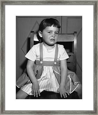 Sulking Girl (4-5) Sitting On Chair, (b&w), Framed Print by George Marks