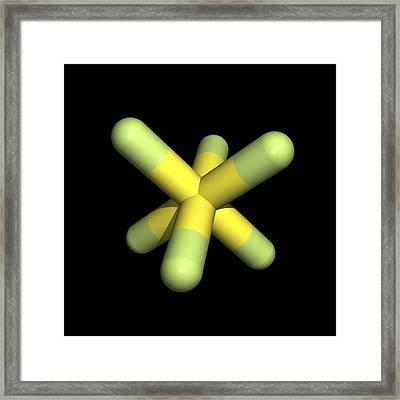 Sulphur Hexafluoride Molecule Framed Print by Friedrich Saurer