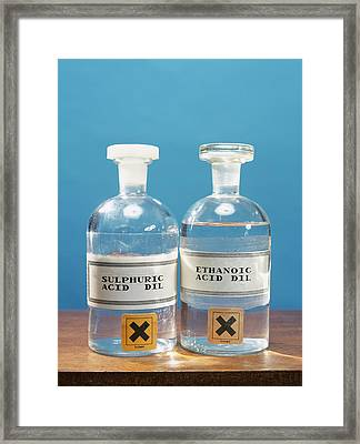 Sulphuric And Ethanoic Acid Framed Print by Andrew Lambert Photography