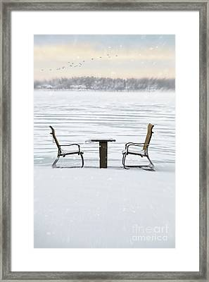 Summer Chairs In Winter Near Lake Framed Print by Sandra Cunningham