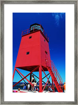 Summer Fun Down By The Lighthouse Framed Print by Janice Adomeit