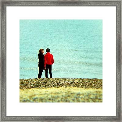 Summer Lovin' #couple #love #red #man Framed Print