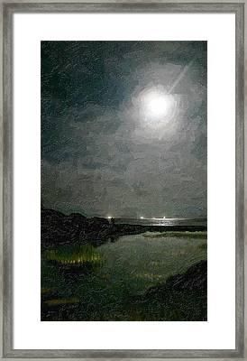 Summer Moon Over The Lagoon Framed Print
