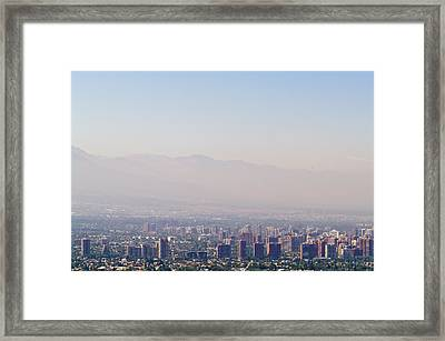 Summer Smog And Pollution In Santiagos Framed Print