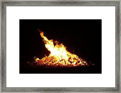 Summer Solstice Fire -- Sommersonnenwendfeuer Framed Print by Franziska Marie Orbach