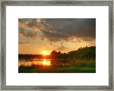 Framed Print featuring the photograph Summer Sunset On Empire by Mary Hershberger