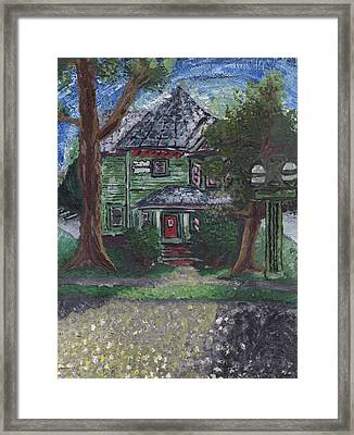 Framed Print featuring the painting Summer Sunset On The Greenhouse by Denny Morreale