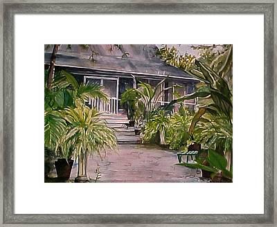 Summer's Patio Framed Print by Cyndi Brewer