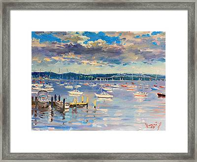 Sun And Clouds In Hudson Framed Print