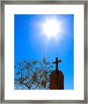 Sun And Headstone Chinese Camp Ca Framed Print