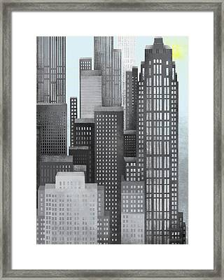 Sun And Skyscrapers Framed Print by Jutta Kuss