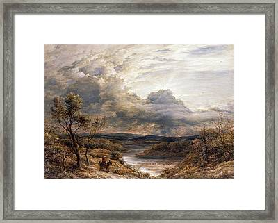 Sun Behind Clouds Framed Print by John Linnell