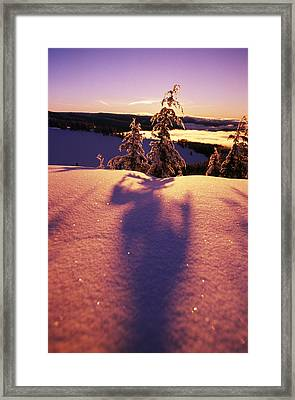 Sun Casting Shadows On Snow Covered Framed Print by Natural Selection Craig Tuttle