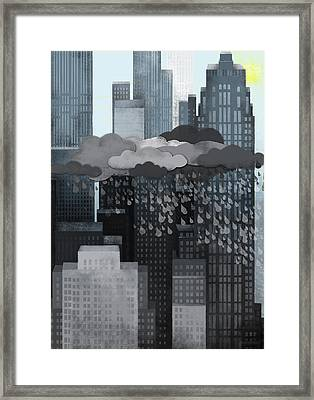 Sun Coming Out During A Thunderstorm Framed Print