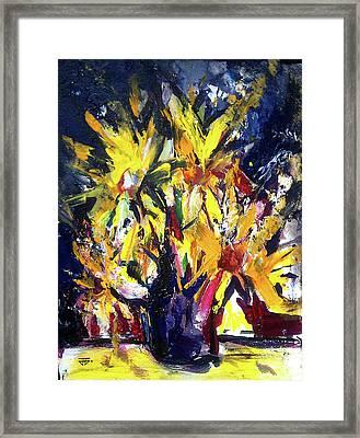 Sun Flower Night Framed Print
