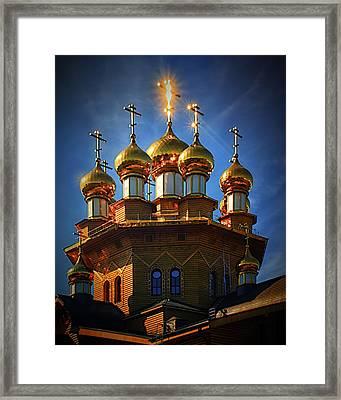 Sun On Cross  Framed Print by Gennadiy Golovskoy