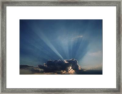 Sun Rays And Cumulus Cloud Framed Print by Pekka Parviainen