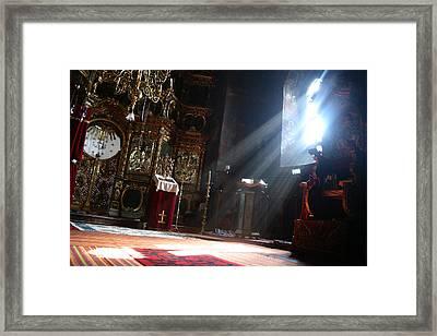 Sun Rays In Orthodox Church Framed Print by Emanuel Tanjala