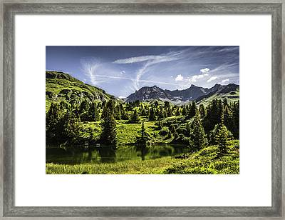 Sun Rising Over Grassy Rural Hillside Framed Print