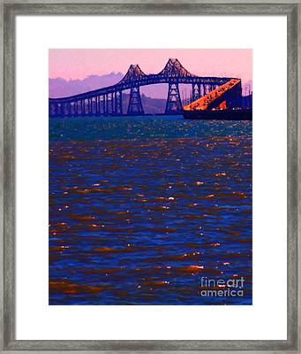 Sun Setting Beyond The Richmond-san Rafael Bridge - California - 5d18435 Framed Print