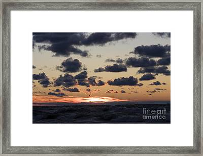 Sun Setting With Dramatic Clouds Over Lake Michigan Framed Print by Christopher Purcell