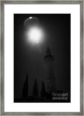 Sun Shining Down On The Small 11th Century Touzla Mosque In Larnaca Republic Of Cyprus Framed Print
