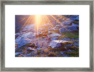 Framed Print featuring the photograph Sunburst Over Abyss Lake by Jim Garrison
