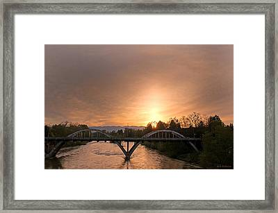 Sunburst Sunset Over Caveman Bridge Framed Print by Mick Anderson