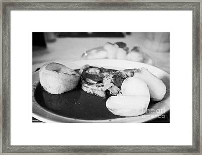 Sunday Roast Dinner Served In A Pub Featuring Roast Lamb Potatoes Yorkshire Pudding Vegetables And G Framed Print by Joe Fox