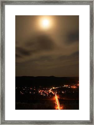 Sunderland By Moonlight From Mount Sugarloaf Framed Print