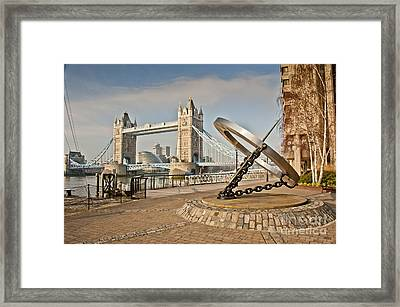 Sundial At Tower Bridge Framed Print by Donald Davis