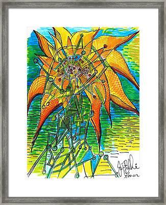 Sunflower Construction Framed Print by Jon Baldwin  Art