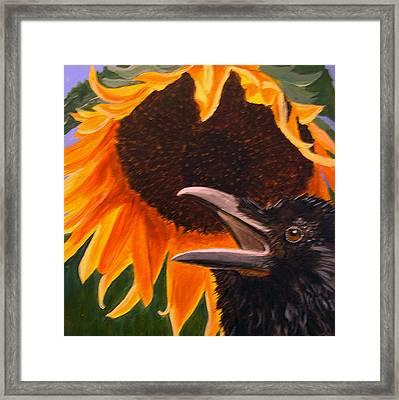 Sunflower Crow Framed Print by Kathleen A Johnson