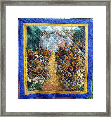 Sunflower Path Quilt Framed Print by Sarah Hornsby