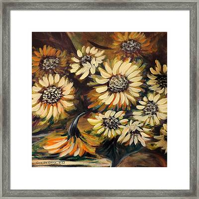 Sunflowers 12 Square Painting Framed Print by Gina De Gorna
