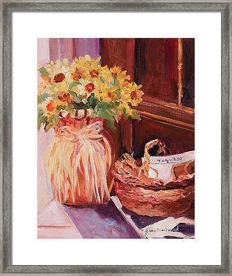 Sunflowers And The Breadbasket Framed Print