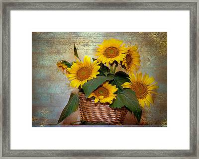 Framed Print featuring the photograph Sunflowers by Anna Rumiantseva