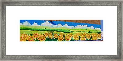 Sunflowers-exterior Mural Framed Print by Jennifer Little