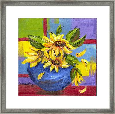 Sunflowers In A Blue Bowl Framed Print