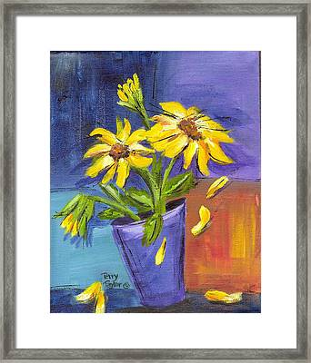 Sunflowers In A Blue Pot Framed Print