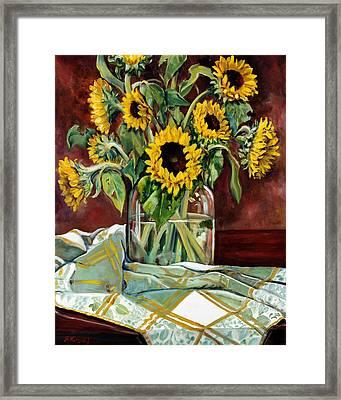 Sunflowers In A Jar Framed Print by Sheila Kinsey