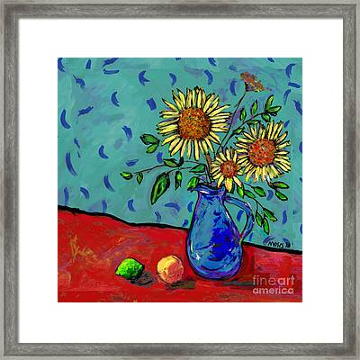 Sunflowers In A Milk Pitcher Framed Print