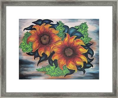 Sunflowers In A Still Life Framed Print by Cheryl Pettigrew