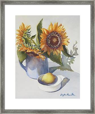 Sunflowers In Vase Framed Print