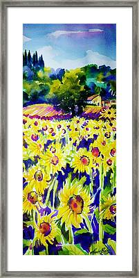 Sunflowers Of Tuscany  Sold Original Prints Available Framed Print by Therese Fowler-Bailey
