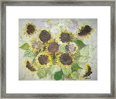 Sunflowers Profile Framed Print by Raymond Doward