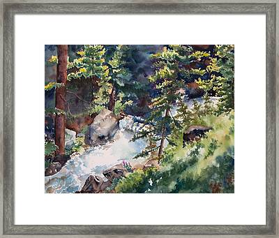 Sunlight And Waterfalls Framed Print by Amy Caltry