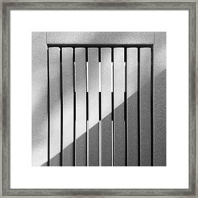 #sunlight #bench #straight #lines Framed Print