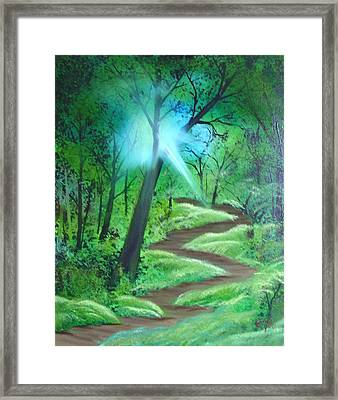 Framed Print featuring the painting Sunlight In The Forest by Charles and Melisa Morrison